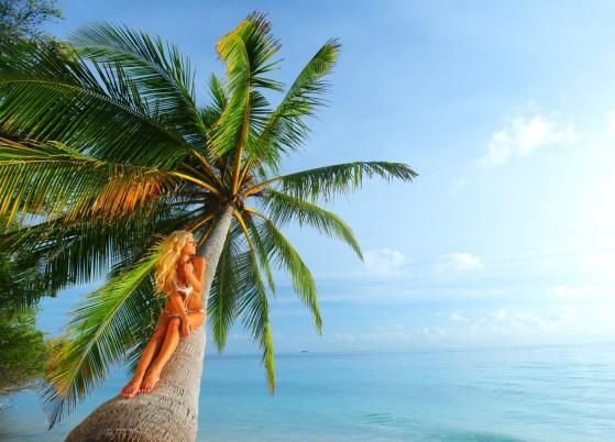 11409174 - woman on palm sea on backgroud